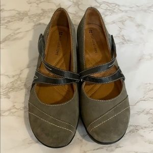 Cute Black Leather Strap & Gray Suede Mary Janes